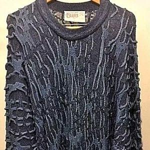 Coogi Blues Mens 3D Textured Blue Sweater, Large